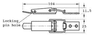 drawing of model train baseboard, large toggle catch